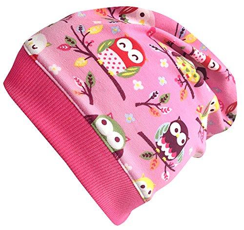 Wollhuhn Beanie-Mütze EULEN rosa, für Mädchen, 20171116, Größe XS: KU 42/46 (ca 6 Mon. bis 2 Jahre)