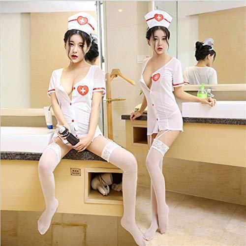 FJJ-HUSHIFU, Enfermera Erótica Disfraz Sirvienta Uniforme Cosplay Lencería Mujeres Juego de Roles Lencería Hot Sexy Dress + g-String + Hat + Hairband + Medias (Color : As Shown, tamaño : M)