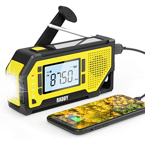 Raddy NW3 Emergency Weather Radio with NOAA Alert, Hand Crank Solar Powered Battery Operated with Flashlight, Phone Charger, AM/FM Radio, SOS Alarm, for Outdoor Camping Survival Prepper Kit