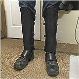 Armadura de pierna de cuero retro Armadura de guerrero ajustable medieval Cubre botas Samurai Protector de tobillo Remache Cuero de PU Hebilla Cubierta de zapato Halloween, Accesorios de cosplay,Negro