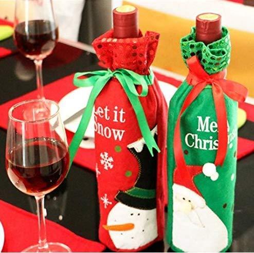 4 piezas de Papá Noel muñeco de nieve diseño botella de vino cubierta de vino tinto regalo bolsas de Navidad decoración suministros Navidad hogar mesa adornos
