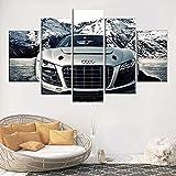 Lienzos decorativos Coche deportivo Aud-150x80 CM Cuadros Modernos Impresión de Imagen Artística Digitalizada Lienzo Decorativo Para Salón o Dormitorio 5 Piezas