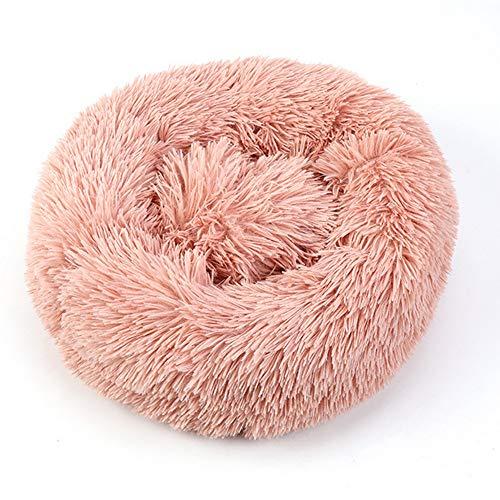 PRXD Deluxe Huisdier Bed voor Katten en Honden Pluche Donut Huisdier Bed Warm Knuffel Kennel Zachte Puppy Bank Kat Kussen Bed Slaapzak, S(40CM), roze