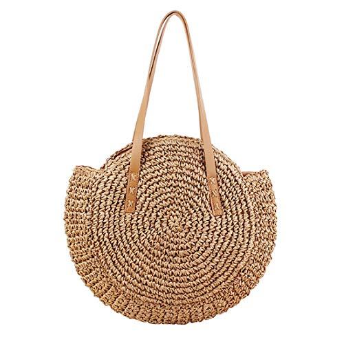 Round Straw Bag Handwoven Natural Summer Beach Shoulder Bag Rattan Crossbody Purse for Women (brown)
