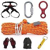 Cuerda de escalada,Cuerda de seguridad de 8 mm,Escape de gran altura,Traje de 10/20/30/40/50 m,Uso familiar,Núcleo de alambre de acero,Cinturón de seguridad,Guantes,Silbato de emergencia,Bolsa de alm