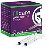 3ml Syringe Without Needle Luer Slip 100 Pack by Tilcare - Sterile Plastic Medicine Droppers for Children, Pets or Adults – Latex-Free Oral Medication Dispenser - Syringes for Glue and Epoxy