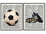 Vintage Soccer Ball and Shoes Upcycled Dictionary Wall Art Print Set of 2-8x10 Photos - Home Decor for Gym, Workout or Game Room, Boys, Girls Kids Bedroom - Unique Gift for Futbol Fan, Coach
