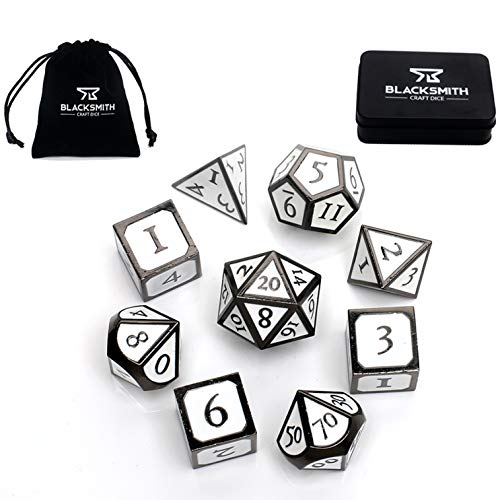 Blacksmith Craft Dice DND Dice Set 9 PCS (2 Extra D6s) - Metal Dungeons and Dragons Polyhedral Dice Set with D&D Dice Box & Bag for RPG Gaming - Includes D20 - Blacksmith Craft Dice (Forge & Frost)