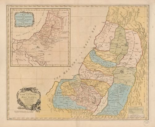 Vintography 1760 Map A map of The Land of Canaan or Holy Land, as Divided Among The Twelve Tribes which God Prom