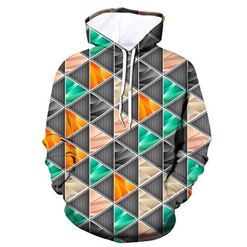 Xmiral Herren Slim Fit Hoodie Lange Ärmel Kapuzenpullover 3D Druck Farbig Sweatshirt Pullover Hooded Streetwear Hemden Strickwaren(g Grau,L)