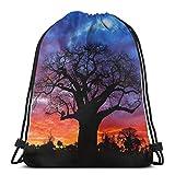 Yuanmeiju African Baobab Tree Shoulder Bolsa con cordón Backpack String Bags School Rucksack Gym Sport Bag Lightweight