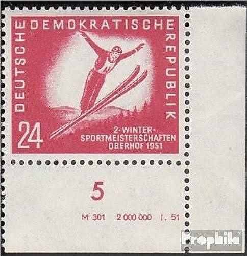 Prophila Collection DDR 282DV mit Druckvermerk 1951 Leipziger Frühjahrsmesse (Briefmarken für Sammler) Wintersport