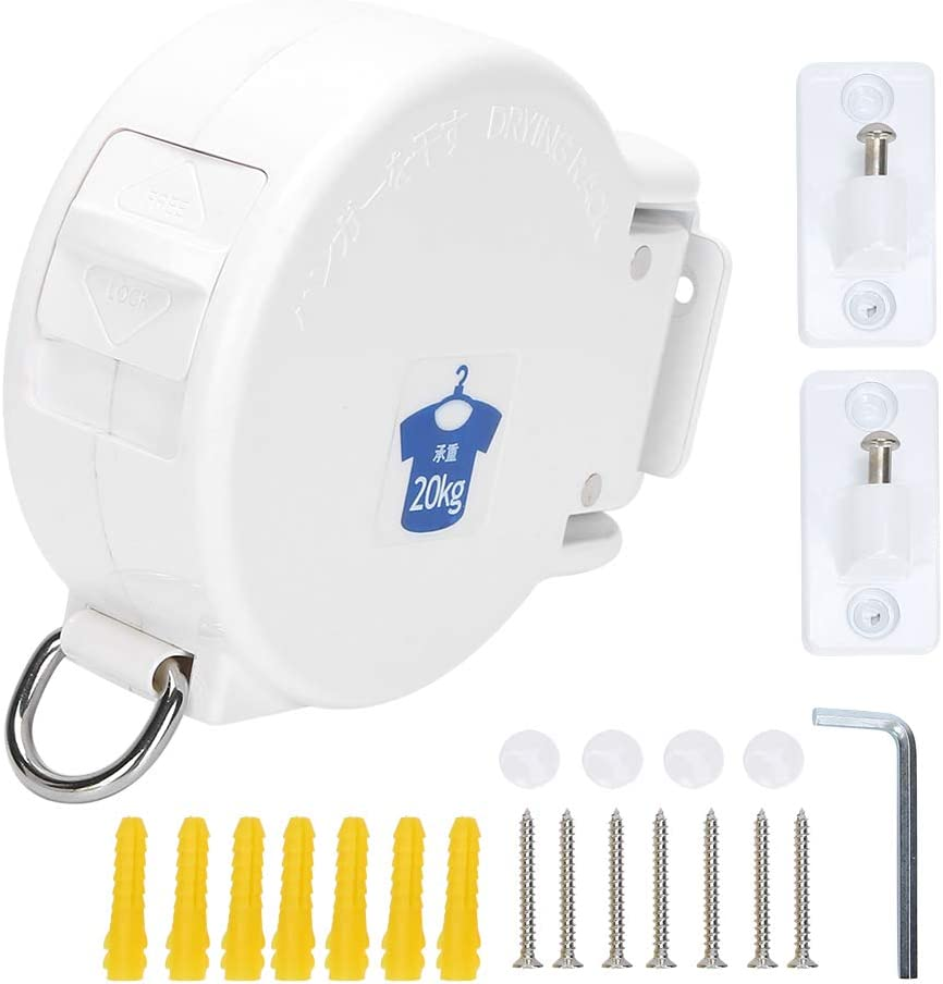 Black Laundry Clothes Drying Rack Powerful Clothes Lines for Indoor Outdoor Drying Rack Retractable Clothesline