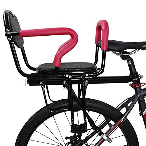 QWET Asiento De Bicicleta para NiñOs, Accesorios De Cuadro De Bicicleta Plegable, con Reposabrazos, Pedales, Cojines, Apto para NiñOs De 2 A 8 AñOs,Rosado