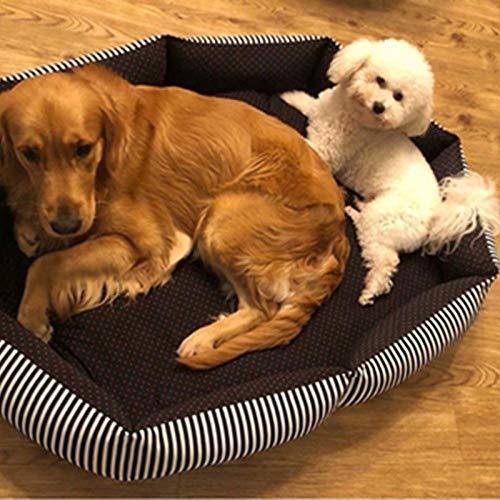 Cama para Perros de Felpa Suave y cálida Cama para Perros Cama para Dormir mullida sofá para Mascotas Perros pequeños y medianos de Varios tamaños -Gypsophila Rayada de Cebra_XL-90 * 80 CM