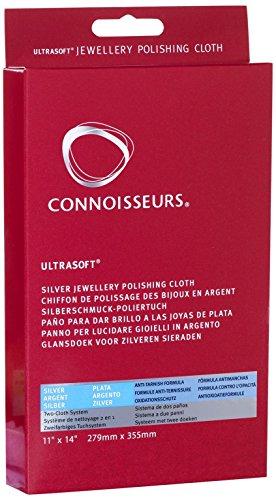 Connoisseurs Paño Limpiador de Plata, Paño de Pulido Ultra Suave para Limpiar, Pulir y Restaurar el Brillo de Joyeria, 100% Fibra de Algodón, 28 x 35cm