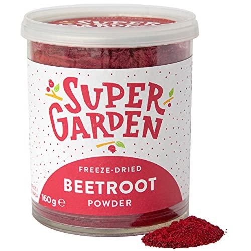 Supergarden Polvere di barbabietola rossa liofilizzata - 100% Puro e naturale - Adatto ai vegani - Senza zuccheri aggiunti, senza additivi artificiali e senza conservanti - Senza glutine - Senza OGM