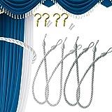 4 cuerdas de cortina, alzapaños de cuerda para cortina de ventana, hebilla de tejer a man...
