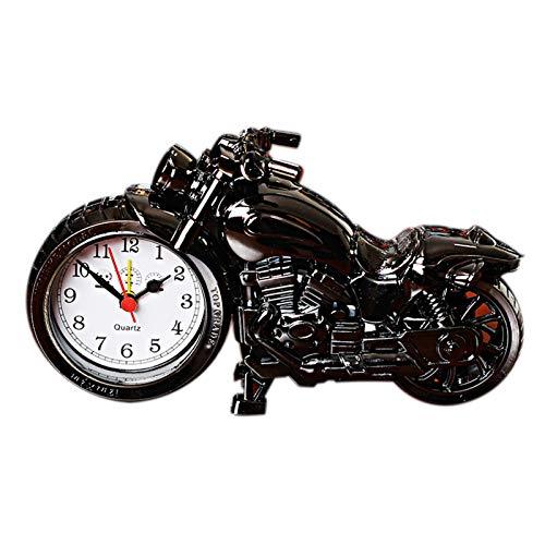 Motorrad-Wecker, einzigartig, auffällig, exquisit, sportlich, einzigartiges Geschenk für Motor-Liebhaber, Kinder, Jungen, kreativ, Studenten, Nachttischuhr (schwarz)