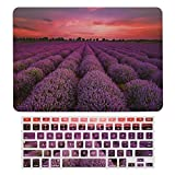 France Provence Lavender Field Summer Sunset Landscape Plastic Hard Shell Case&Screen Protector with Keyboard Cover for MacBook Air 13