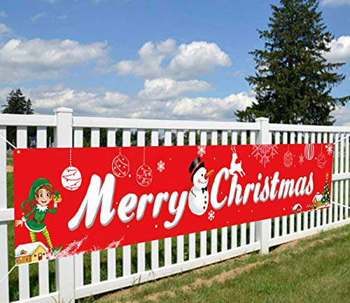 QOR Balance Large Merry Christmas Banner,Red Xmas Welcome Porch Sign Banner Decorations,Christmas Elves Holidays Yard Wall Party Outdoor Indoor Hanging Decor 98 x 18 inch