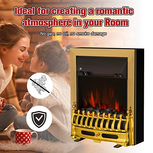 HOMCOM Electric Fireplace LED Light Complete Fire Place Heating Indoor Heater Coal Burning Flame Effect Heat 2000W Max