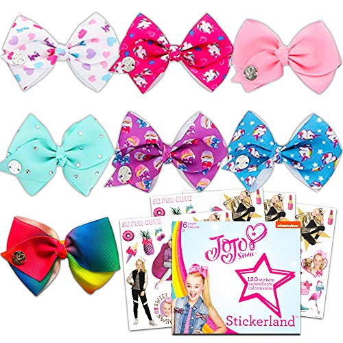 Jojo Siwa Bows for Girls Party Set -- Pack of 7 Signature Collection Jojo Bows (Assorted Colors) with Jojo Siwa Stickers (Party Supplies)