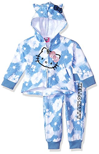 Hello Kitty Girls' 2 Piece Embellished Active Set Juego de Pantalones, Corbata Azul, 24 Meses para Bebés