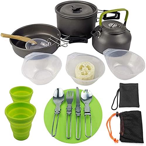 ZFQZKK Juego de Cocina al Aire Libre Camping Utensilios de Cocina Hikking Pot Kit Picnic Herramientas de cocción al Aire Libre Conjunto para Backpacking Trekking Utensilios de Camping