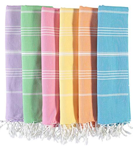 LOOMANGO (Set of 6) Classic 100% Cotton 70'x39' Turkish Bath and Beach Towel Set 03