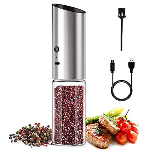 DIRECTGO Electric Salt and Pepper Grinder Set, Large Capacity Salt and Pepper Shaker Refillable, USB Rechargeable Gravity Spice Grinder and Adjustable Coarseness Pepper Mill(1 pieces)