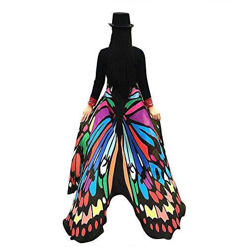 Amcool Schön Schmetterlings Flügel ✿✿ Schmetterling Kostüm Chiffon Schals Feenkostüm Damen Karneval Cosplay Accessoires (197 * 125CM, Mehrfarben)