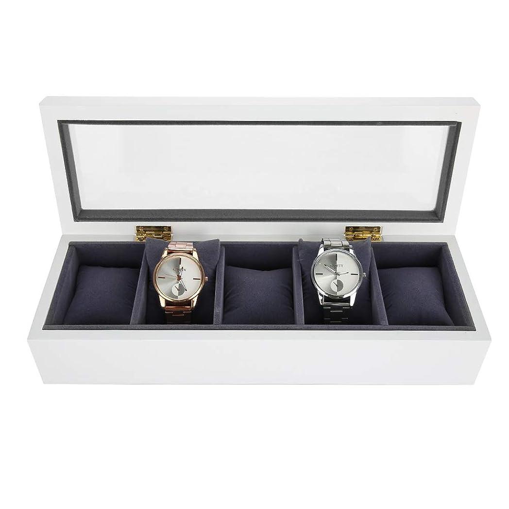 敬意を表するデコラティブプロフィール時計ジュエリーディスプレイボックス 5グリッド ワニス時計ディスプレイケース収納ボックスオーガナイザー (1#)