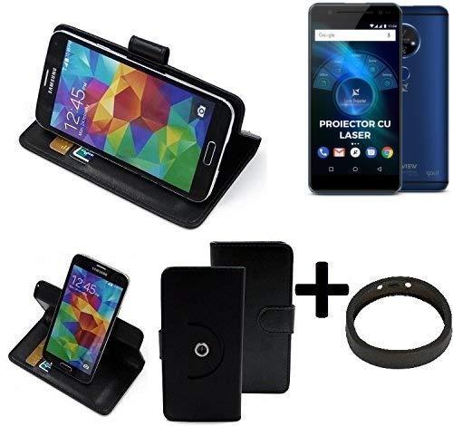 K-S-Trade® Case Schutz Hülle Für Allview X4 Soul Vision + Bumper Handyhülle Flipcase Smartphone Cover Handy Schutz Tasche Walletcase Schwarz (1x)