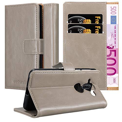 Cadorabo Hülle für Nokia 8 Sirocco in Cappuccino BRAUN – Handyhülle mit Magnetverschluss, Standfunktion & Kartenfach – Hülle Cover Schutzhülle Etui Tasche Book Klapp Style