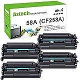 Aztech Compatible Toner Cartridge Replacement for HP 58A CF258A 58X CF258X Laserjet Pro M404n M404dn MFP M428fdw M428dw M428fdn (Black 4-Pack)