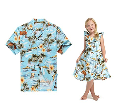 Hecho en Hawaii Vestido a Juego de la Camisa del Padre Hija Luau Vestido en Azul Palma Casas Ola 3XL-2