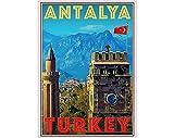 AZSTEEL Retro Vintage Style Travel Poster - Antalya Turkey