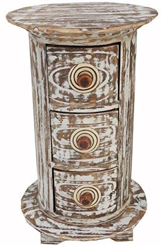 Guru-Shop Ronde Ladekast, Apothekerskast, Ladekast van Balsahout - 3 Laden, Bruin, 40x25x25 cm, Blikken, Dozen Kisten