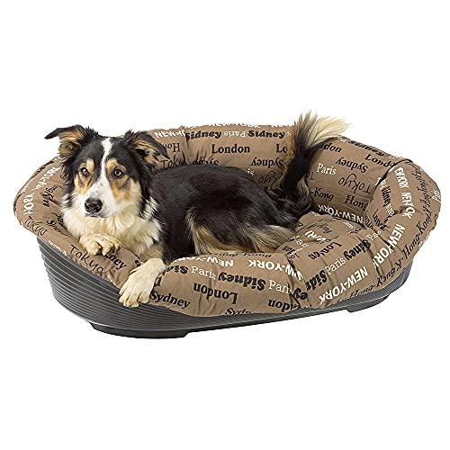 Ferplast Kissen für Hunde und Katzenbett SOFA 'CUSHION 10 Kissen für Haustiere, gepolsterter Bezug, weiche waschbare Baumwollpolsterung, verstellbar mit Gummizug, 96 x 71 x h 32 cm braun