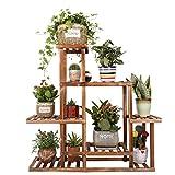 Soporte de suelo de madera para interiores y exteriores, para decoración de jardín, estante de flores de varios pisos, anticorrosión, resistente y duradero, con 5 niveles, 97 x 25 x 97 cm