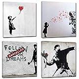 Canvashop Quadri moderni 4 pezzi cm 40x40 Banksy Stampa su Tela Canvas quadrati Quadro soggiorno arte bansky