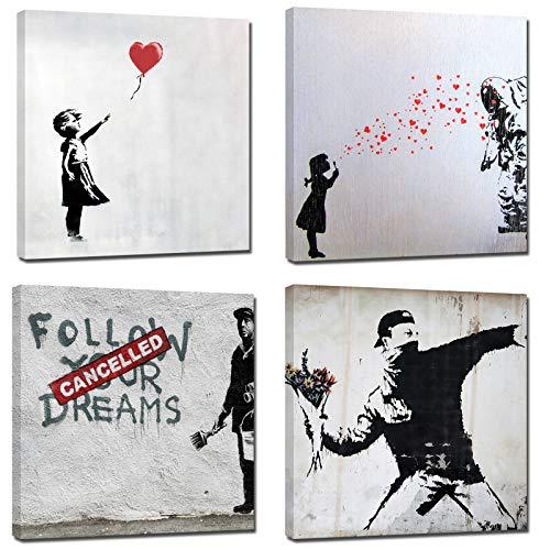 canvashop Quadri Moderni Quadro Banksy Stampa su Tela Canvas Street Art 4 Pezzi Quadrati cm 40x40 Bansky
