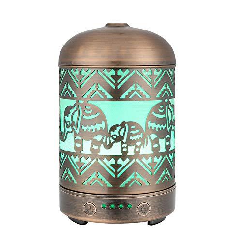 Caodong Humidificador de Aire Artesanal metálico Vintage Hecho a Mano 100 ml difusor de Aceite Esencial 7 Colores LED luz difusor de Aroma para Regalo de bebé-Elefante
