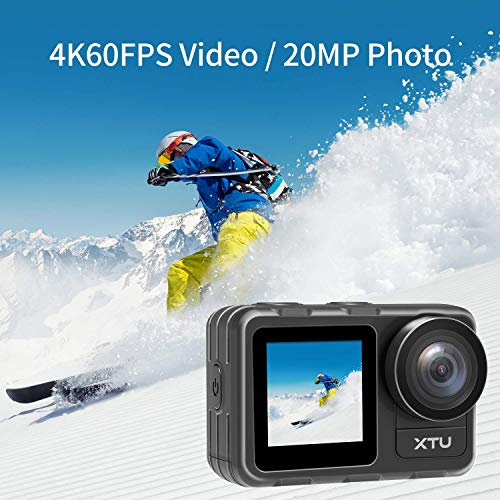 Action Camera, XTU 4K60FPS 20MP WiFi Action Cam with Dual Screen Display, Vlog Camera EIS Remote Control 131 Feet Underwater 166° Wide Angle