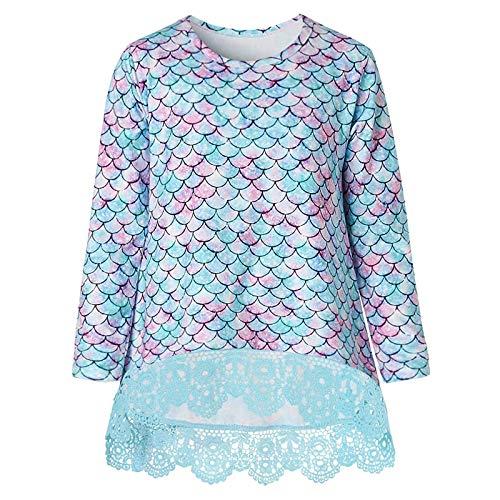 Janly Clearance Sale Tops para niñas de 4 a 11 años, túnica de encaje casual de manga larga, blusa suelta 3D de escalas de sirena, para 10 a 11 años de invierno, Navidad, día de San Valentín (morado)