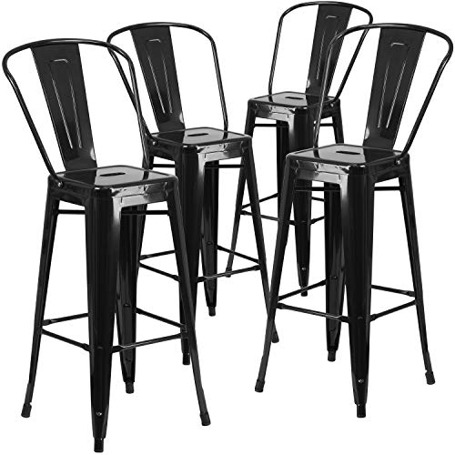 "Flash Furniture Commercial Grade 4 Pack 30"" High Black Metal Indoor-Outdoor Barstool with Removable Back"