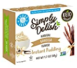 Simply Delish Natural Instant Vanilla Pudding - Sugar Free, Non GMO, Gluten Free, Fat Free, Vegan, Keto Friendly - 1.7 OZ (Pack of 6)