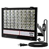 <グレードアップ>超薄型・超高輝度 LED投光器 50W 500W相当 昼光色 5000LM AC85~265V 優れた放熱性 安全性高い 広い範囲照射可能 防塵防水レベルIP66同等以上 看板灯・防災灯・町内の防犯灯 余裕の3mコード プラグ付き 汎用 超コスパ 一年保証付き 1個(ブラック50W)