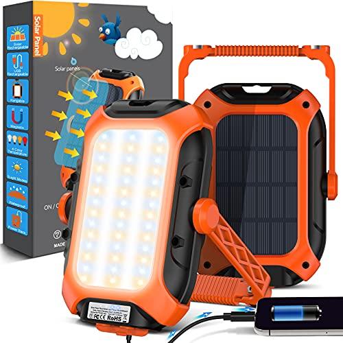 Luz Camping Portatil Linterna Camping - 9000 Mah Solar Batería Recargable Foco Led USB Ip65 Impermeable Lampara Camping Para Tienda, Camping, Senderismo, Emergencia, Trabajo